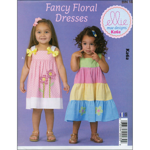 Ellie Mae Designs Fancy Floral Dresses Pattern - Baby / Toddler sizes 1-4T (paper)