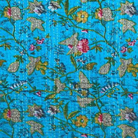 Kantha Hand Embroidered in Blue Noor