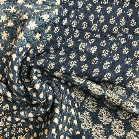 Kantha Hand Embroidered in Deep Blue Sea