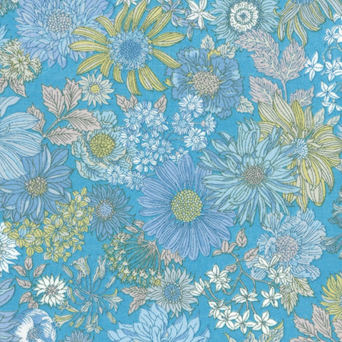 Large Floral COTTON LAWN in Cornflower blue