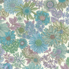 Large Floral COTTON LAWN in Lavender
