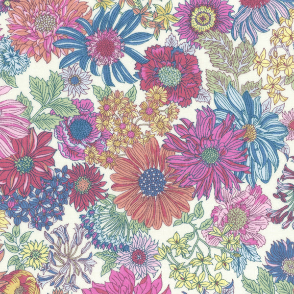 Large Floral COTTON LAWN in Multi