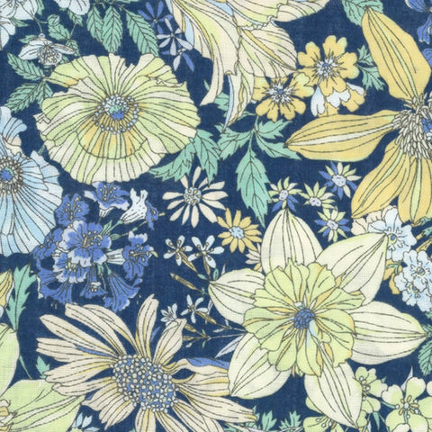 Flowers DOUBLE GAUZE in Navy