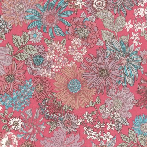 Large Floral COTTON LAWN in Pink