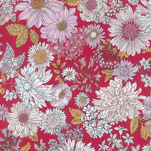 Large Floral COTTON LAWN in Red