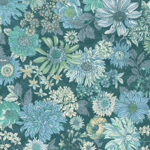 Large Floral COTTON LAWN in Teal