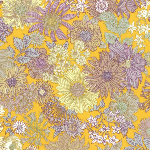 Large Floral COTTON LAWN in Yellow