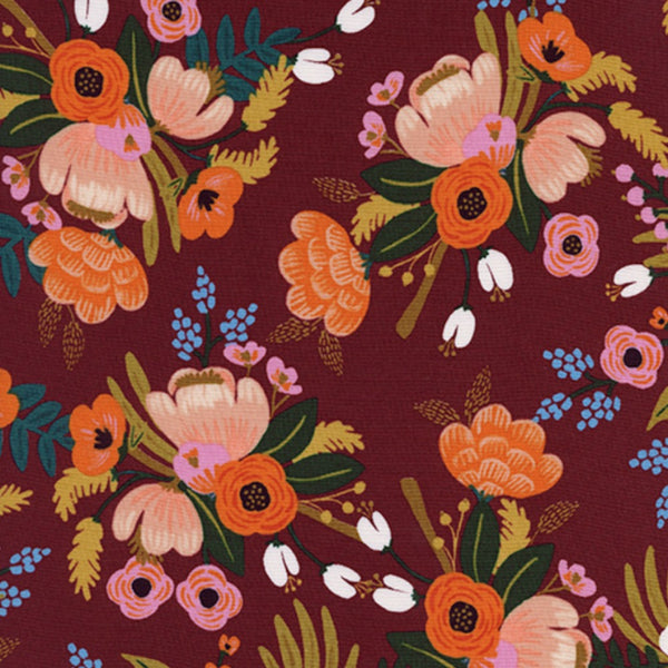 Lively Floral RAYON in Burgundy - Last Fat Quarter