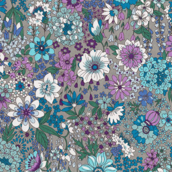 Garden Floral COTTON LAWN in Cool Gray