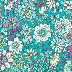 Garden Floral COTTON LAWN in Turquoise