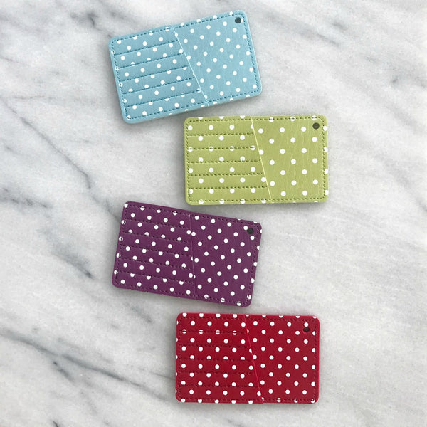 Polka Dot Faux Leather Needle Case (Various Colors)