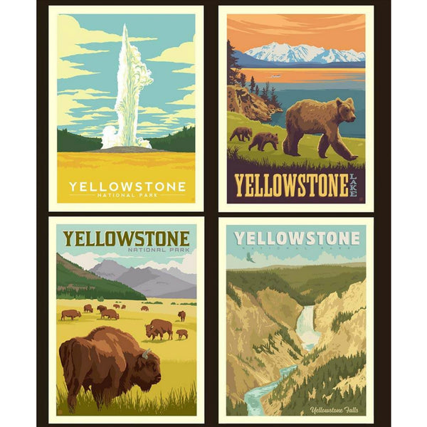 National Parks Yellowstone Pillow PANEL in Black