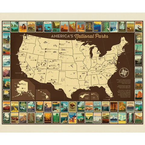 National Parks USA Map Poster PANEL in Chocolate