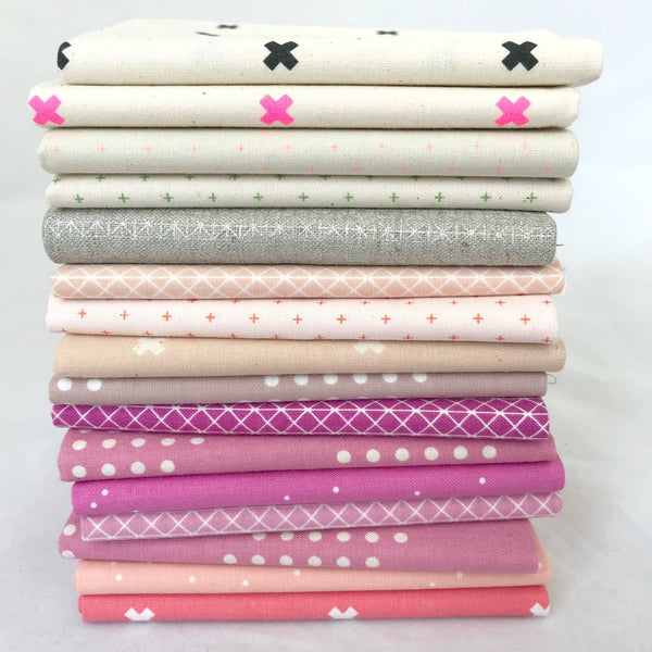 Pink & Cream Fat Quarter Bundle (16 piece)