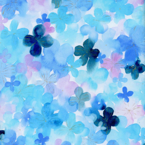 Pansy Watercolor COTTON LAWN in Turquoise