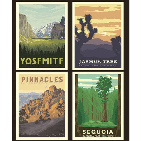 National Parks California Pillow PANEL in Black