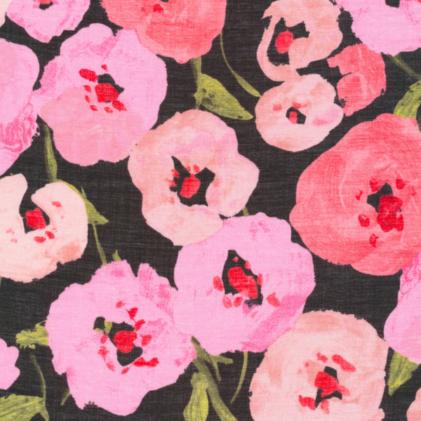 Pink Poppies BATISTE in Black Organic