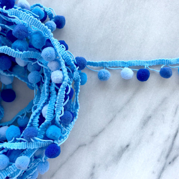 Pom Pom Trim in Blue