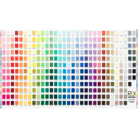 Kona Printed Color Chart PANEL in Multi 365 Colors