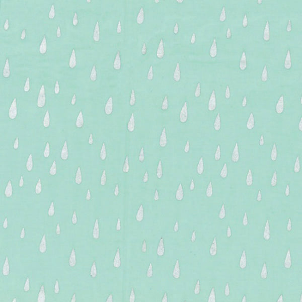 Raindrops in Spearmint / Silver Metallic - Last Fat Quarter