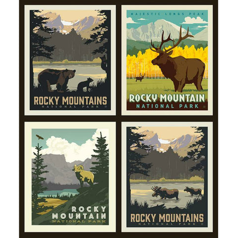 National Parks Rocky Mountains Pillow PANEL in Black