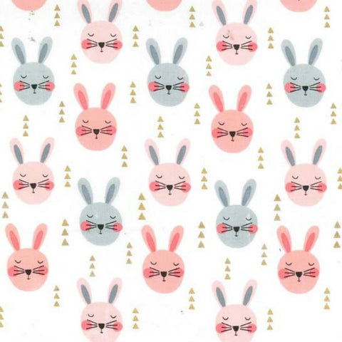 Ruminating Rabbits in Peach Metallic