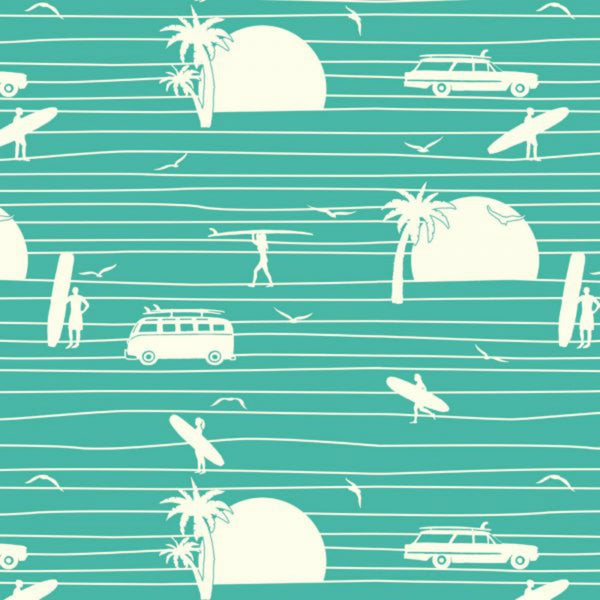 Summer Main in Turquoise Organic - Last Fat Quarter