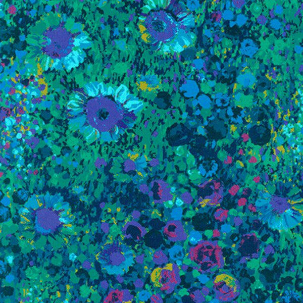 Painterly Petals Meadow in Navy
