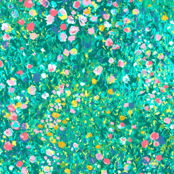 Painterly Petals Floral Dot in Green