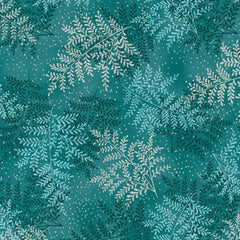 Fern Leaves in Teal / Silver Metallic