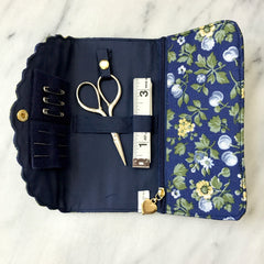 Liberty of London Sewing Roll in Orchard Dark Blue