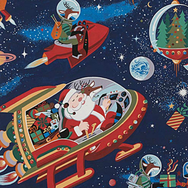 Santa in Space in Dark Blue