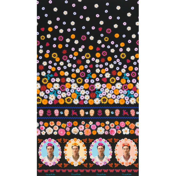 Frida Floral Single Border in Black