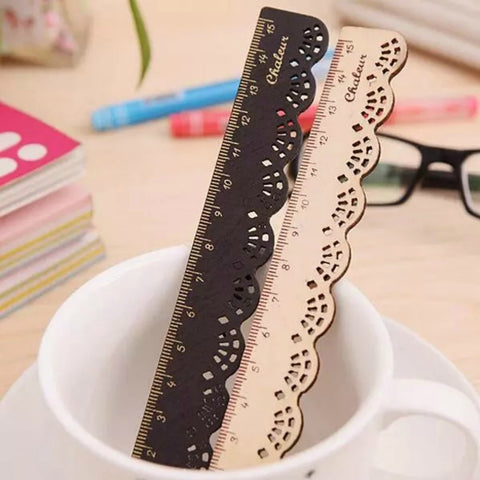 Scallop Lace Edge Wooden Ruler