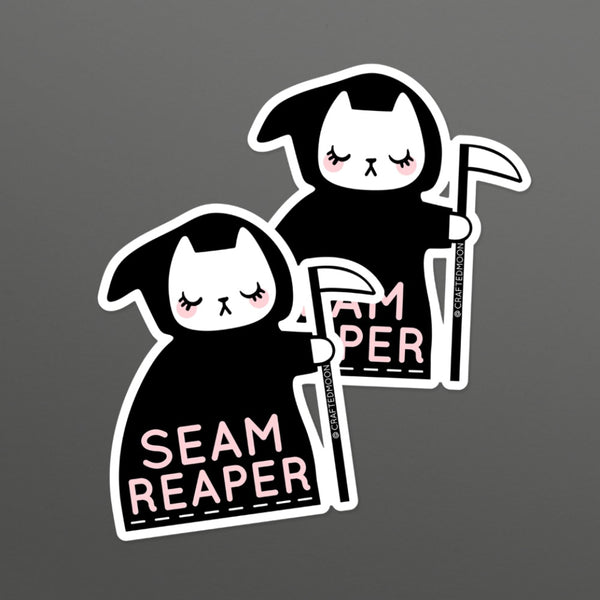 Crafted Moon Seam Reaper Cat Sticker 2 pack