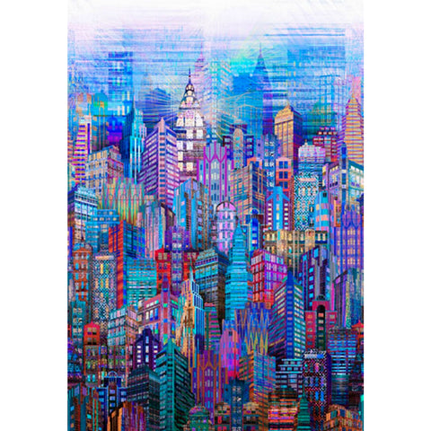 Skylines in Blue (digital spectrum print)