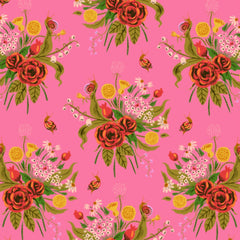 Sleeping Wild Flowers COTTON LAWN in Pink