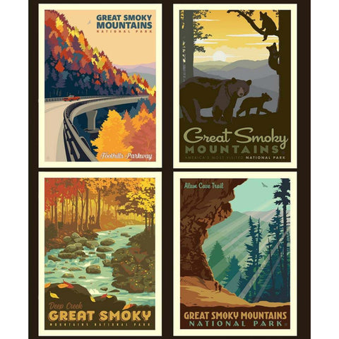 National Parks Great Smoky Mountains Pillow PANEL in Black