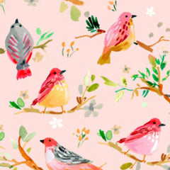 Birds on Branches in Blush