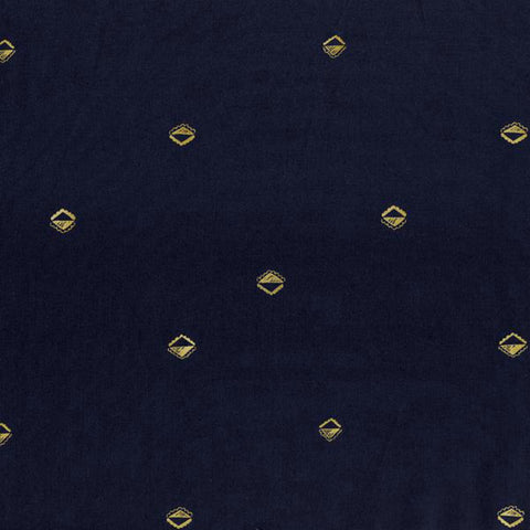 Sunrise COTTON LAWN in Indigo & Copper Metallic