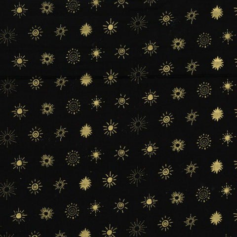 Suns in Black / Gold Metallic - Last Fat Quarter