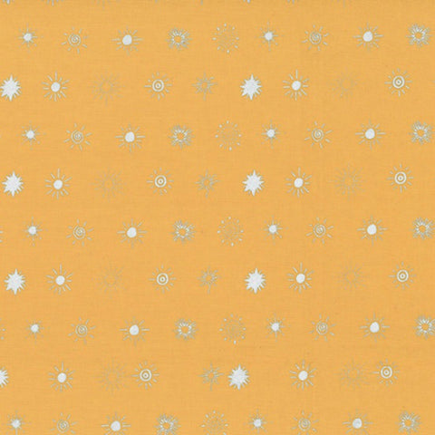 Suns in Gold Ochre / Silver Metallic - Last Fat Quarter