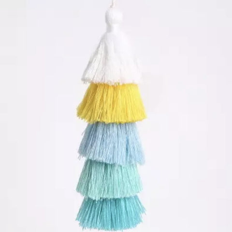 "Ombre Yellow / Turquoise Tassel 6"" Long"