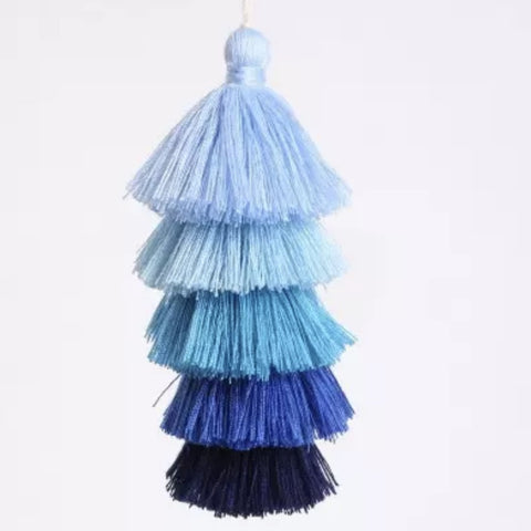 "Ombre Blue Tassel 6"" Long"