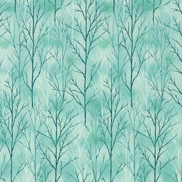 Trees in Teal / Silver Metallic