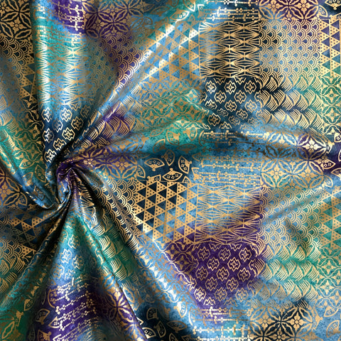 Urban Ethnic Patch in Purple / Turquoise Metallic