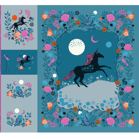 "Magic Unicorn 108"" Panel in Teal"