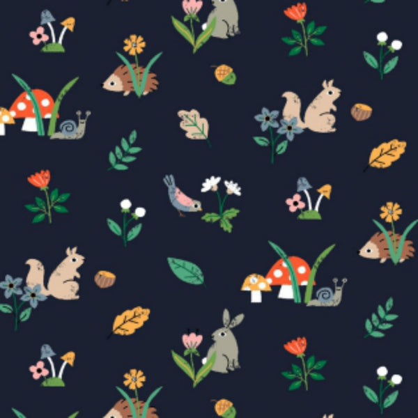 Woodland Creatures in Navy