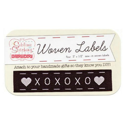 Woven Labels - XOXO in Black