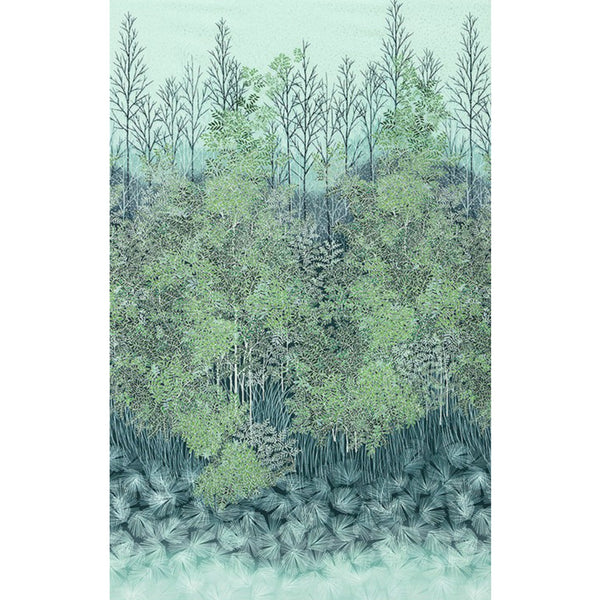 Forest in Teal / Silver Metallic